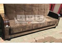 NEW SUEDE FABRIC SOFA BED 3 SEATER WITH STORAGE UNDERNEATH, SOFABED