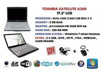 "TOSHIBA SATELLITE A200 17.3"" LCD FULLY SERVICED"