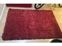 B + Q Colours RUST Orange Red shaggy rug