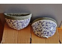Aged ceramic wall planter, blue and white Dutch design