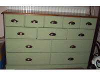 Painted pine merchants chest of drawers