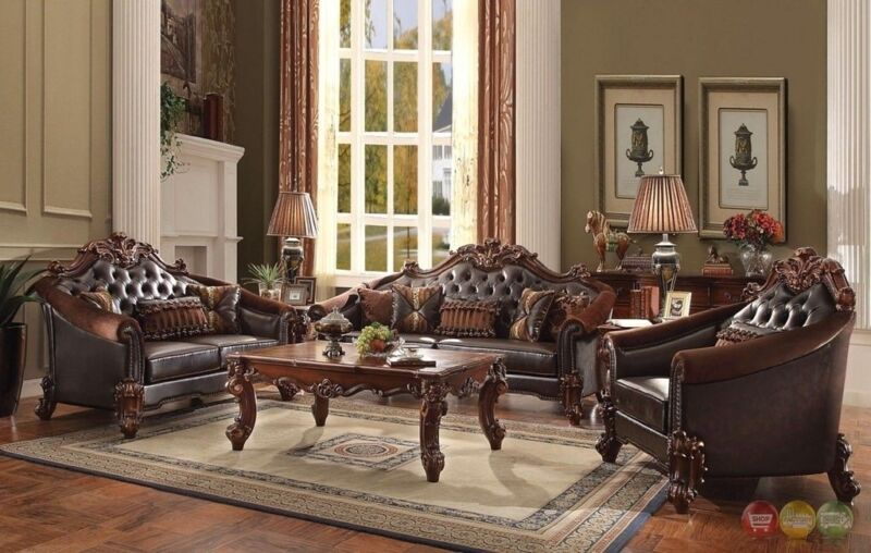 Vendome Victorian Leather & Velvet 4pc Living Room Set W/ Table In Brown Cherry