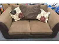 Two seater brown sofa settee suite fabric not leather