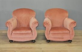 Attractive Pair of Two Vintage Pink Upholstered Scroll Arm Chairs Armchairs