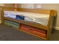 Day-bed with single mattress and 2 extra guest folding mattress