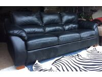 Can Deliver- Beautiful 3 Seater Black Leather Sofa