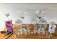 Candy Buffet Set of 10 Glass Jars and Bowls, plus Accessories