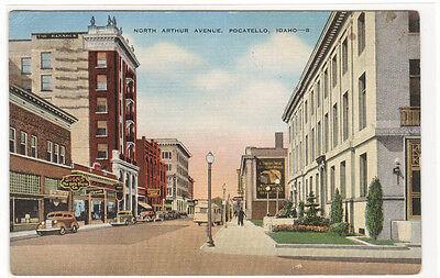 North Arthur Avenue Pocatello Idaho 1946 Linen Postcard