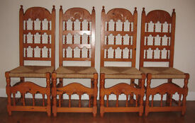 Four Wooden Dining Chairs Solid Pine with scallop shell carved back