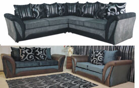 SHANNON CORNER OR 3+2 SEATER SOFA IN BLK/GREY | EXPRESS DELIVERY ALL UK | 1 YEAR WARRANTY