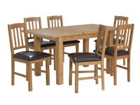 EX DISPLAY Argos Home Ashwell Extendable Oak Veneer Table & 6 Chairs