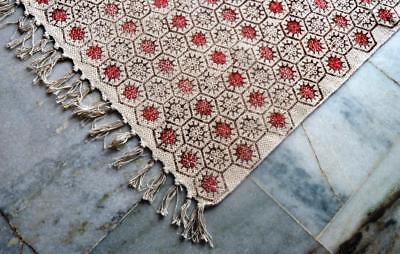 Vintage Turkish Antalya Kilim Rug Area Rug Kelim Block Floral Print Carpet Rug
