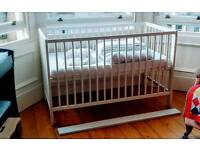 Gulliver Ikea adjustable height Cot, with bed linen and mattress with washable cover.