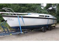 Yacht. Beautiful sail & power boat combined. ½ Price 4 quick sail. Superb condition. New engine