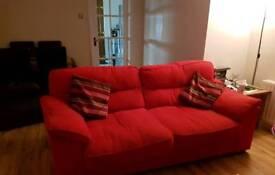 Red fabric 3-1-1 sofa