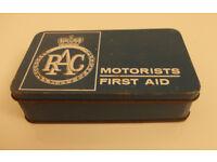 RAC Vintage Motorists First Aid Kit Tin And Contents ~ 1960's Motoring Memorabilia Retro Garage Car