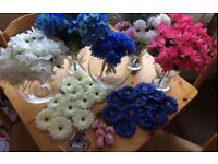 Bundle of pink and blue artificial flowers wedding venue devoration