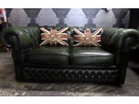 Stunning Chesterfield 2 Seater Green Leather Sofa Couch Low Back - UK Delivery