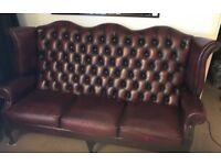 Ox Blood Faux Leather 3 Seater Chesterfield Sofa