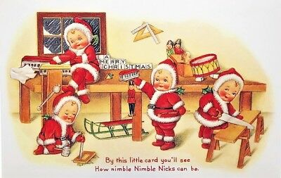 NIMBLE NICK Building Toys MERRY CHRISTMAS POST CARD Mint Conditon! Shackman