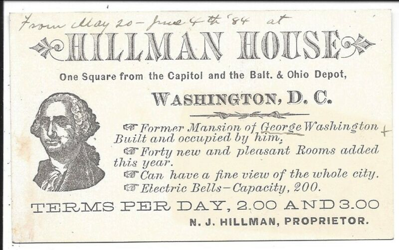 c1884 Trade Card of Hillman House, Former Mansion of G. Washington