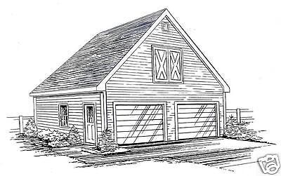 24x26 2 Car FG Garage Building Blueprint Plans WlkupLft