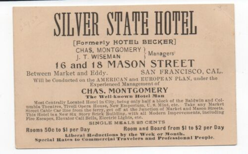 1890s Trade Card for the Silver State Hotel San Francisco CA