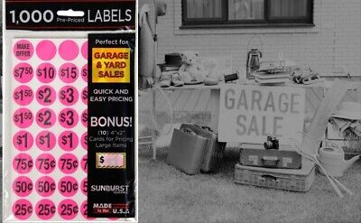 Sunburst Systems Yard Garage Sale Price Stickers Pre-printed Labels 1000 Count