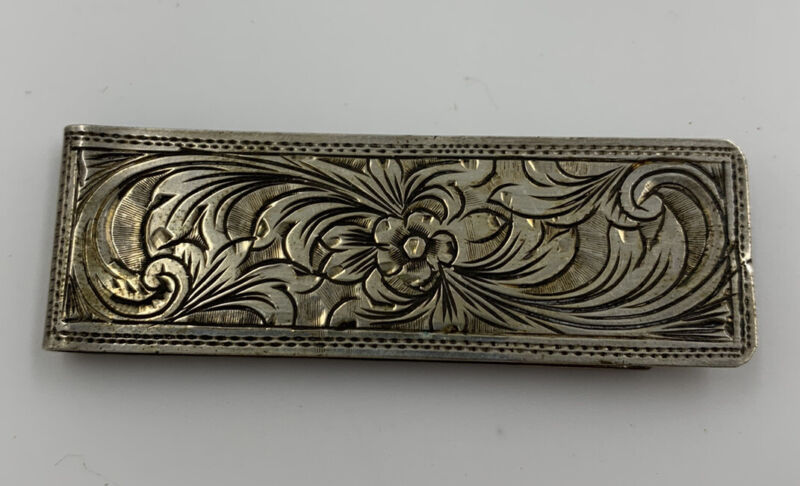 Vintage Engraved Floral Silver Money Clip, Italy 800 Fine