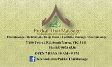 Pukkai Thai Massage / 1 HR Massage $55 / Couple 1 HR $50/each South Yarra Stonnington Area Preview