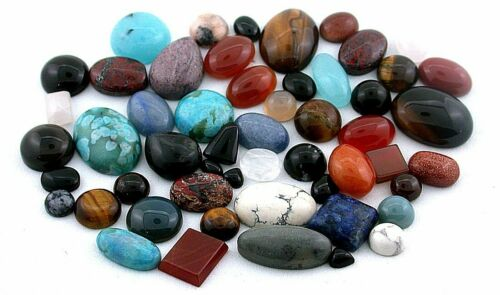 250 Carats Assorted Mixed Cabochon Gemstone Shapes Sizes CLOSEOUT BELOW COST!