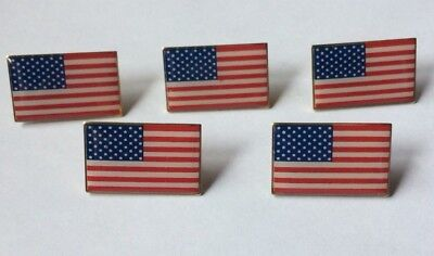 Lot of 5 AMERICAN FLAG LAPEL PIN *MADE IN USA* Hat Tie Tack Badge Pinback Vest  - Flag Pin