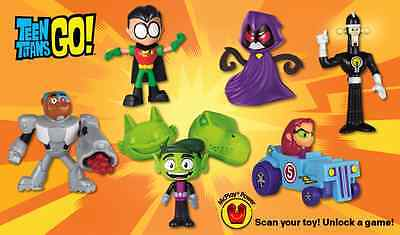 2017 McDONALD'S TEEN TITANS GO HAPPY MEAL TOYS COMPLETE 6 PIECE SET! SHIPS NOW!