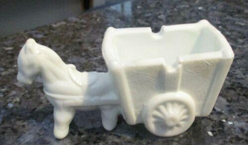 Vintage K.R. Haley Milk Glass Donkey Horse Cart Ashtray