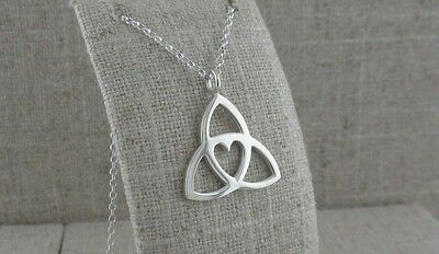 Tracy Gilbert Large Sterling Silver Trinity Knot Heart Pendant Made in Ireland