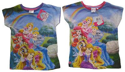 Mädchen T-Shirt Princess Disney Kinder kurzarm Shirt Regenbogen Prinzessin (Disney Prinzessin Bögen)