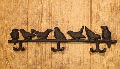 Cast Iron Bird Hat Coat Rack Hanger Wall Hooks 16