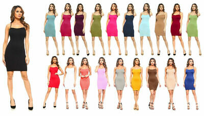 Women Seamless Long Cami Mini Dress Camisole Tank Top Slip Stretchy One Size Clothing, Shoes & Accessories
