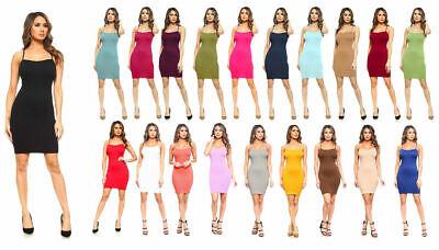 Women Seamless Long Cami Mini Dress Camisole Tank Top Slip Stretchy One Size