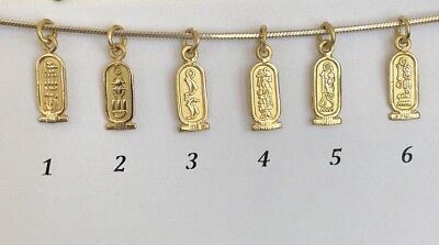 18K Solid Gold Egyptian charms cartouche Isis Tut Ramsis Nefertiti Cleopatra #72