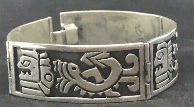 VINTAGE MEXICAN SIGNED AZTEC MAYAN DESIGN BRACELET STERLING SILVER CASTILLO ? Sterling Silver Aztec Design