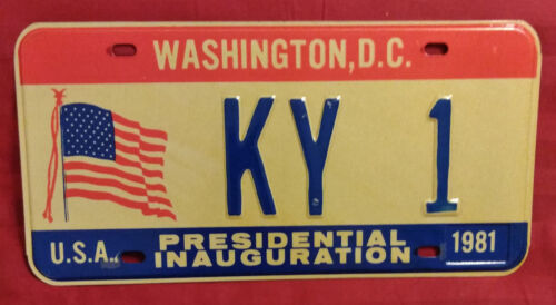 1981 DISTRICT OF COLUMBIA KY-1 KENTUCKY INAUGURAL LICENSE PLATE