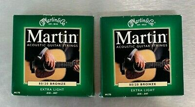 Bronze Wound Extra Light - 2 Sets of Martin M170 80/20 Bronze Wound Extra Light Acoustic Strings