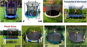 Huge Sale 8 Diff Size Trampolines With Safety Enclosure
