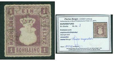 "Mecklenburg-Strelitz - Nr. 3 gestempelt - Kurzbefund ""Berger"""