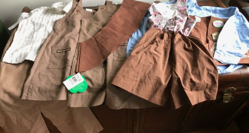 LOT GS GIRL SCOUTS BROWNIES 3 DRESSES+ROMPER+SHIRTS+PANTS+NWT SASH SOME VTG EUC