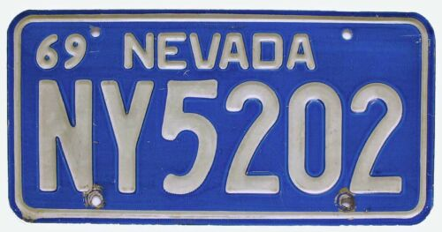 Nevada 1969 Nye County License Plate, NY5202, Debossed, Blue, Tonopah