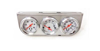 2'' Oil Pressure Voltage Meter Water Temp Triple Gauge Mechanical Chrome Bezel