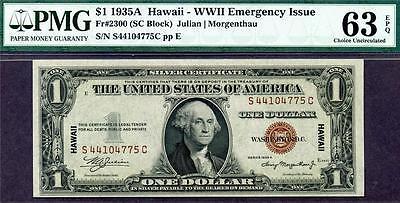 Hgr 1935A  1 Hawaii   S C Block   Pmg Choice Unc 63Epq