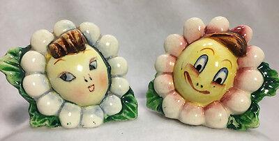 Vintage 50s 60s Anthropomorphic Sun Flower Daisy Face Salt Pepper Shakers Japan